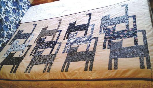 """Текстиль, ковры ручной работы. Ярмарка Мастеров - ручная работа. Купить КотоПокрывало лоскутное """"Черно-белое"""". Handmade. Лоскутные котики"""