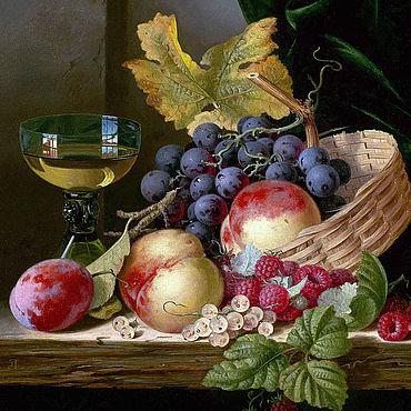 Картины и панно ручной работы. Ярмарка Мастеров - ручная работа Лэделл Эдвард. Корзина с персиками и виноградом. Handmade.