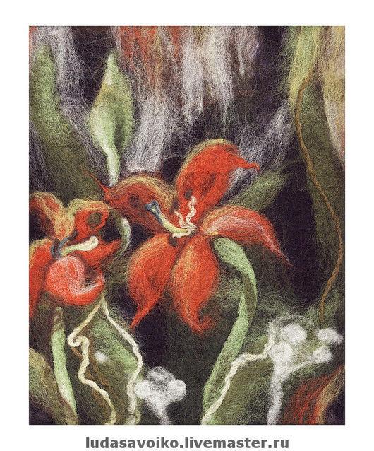 """Картины цветов ручной работы. Ярмарка Мастеров - ручная работа. Купить Войлочная картина """"Лилии"""". Handmade. Войлок, картина"""