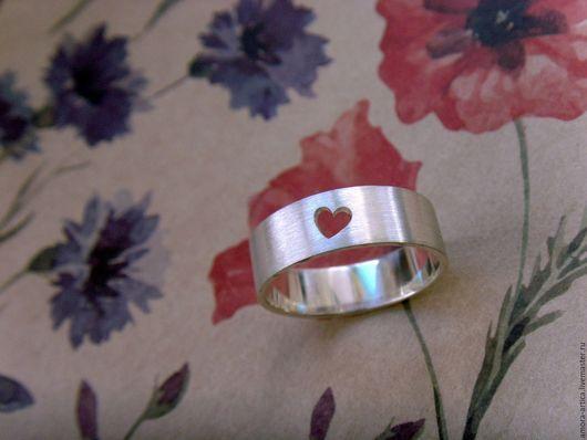 Кольца ручной работы. Ярмарка Мастеров - ручная работа. Купить сердце. Handmade. Серебряный, широкое кольцо, серебро 925 пробы
