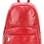 Сумки и аксессуары handmade. Livemaster - original item Leather backpack Violetta (red). Handmade.