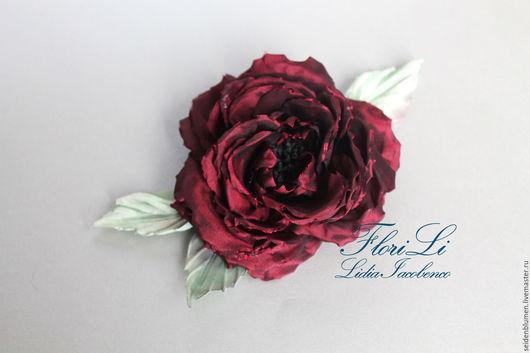 Броши ручной работы. Ярмарка Мастеров - ручная работа. Купить Роза Vivienne. Handmade. Бордовый, цветок из шелка, роза из ткани