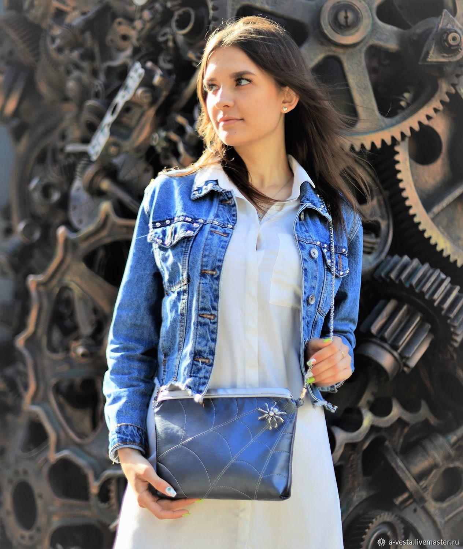 Women's handbag, clutch, silver handbag, Spider, Crossbody bag, Saratov,  Фото №1