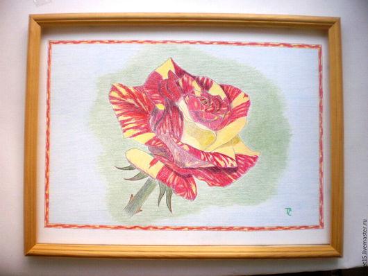 """Картины цветов ручной работы. Ярмарка Мастеров - ручная работа. Купить """"Солнечная роза"""" -цветными карандашами.. Handmade. Картина, цветок"""