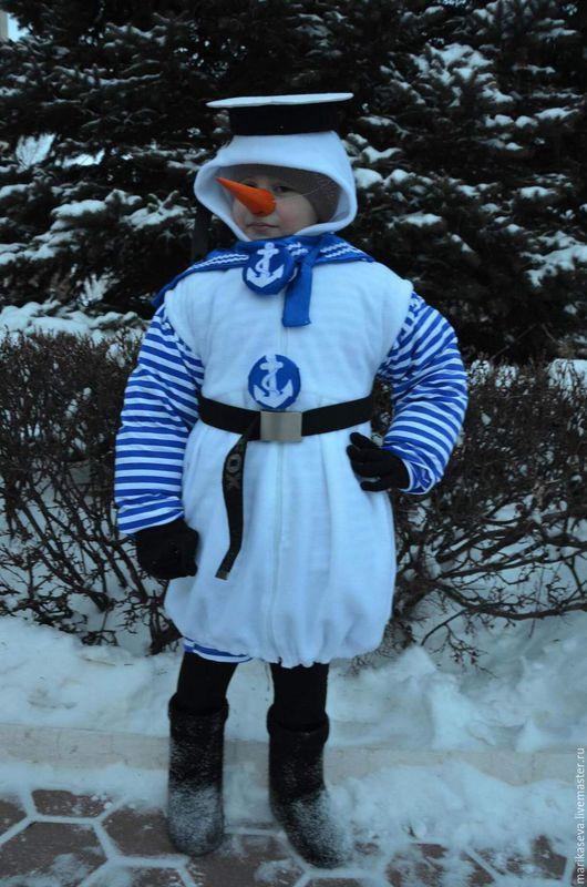 Детские карнавальные костюмы ручной работы. Ярмарка Мастеров - ручная работа. Купить Снеговик-моряк. Handmade. Белый, снеговик, флис