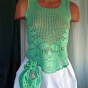 Одежда ручной работы. Ярмарка Мастеров - ручная работа топ-филе изумрудный. Handmade.