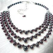 Necklace handmade. Livemaster - original item Necklace for Julia GARNET 3 threads, beads.. Handmade.