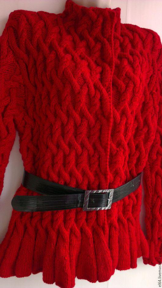 Кофты и свитера ручной работы. Ярмарка Мастеров - ручная работа. Купить Кардиган с узором из кос. Handmade. Ярко-красный, огненный