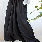 Одежда ручной работы. Ярмарка Мастеров - ручная работа Черные льняные афгани. Handmade.