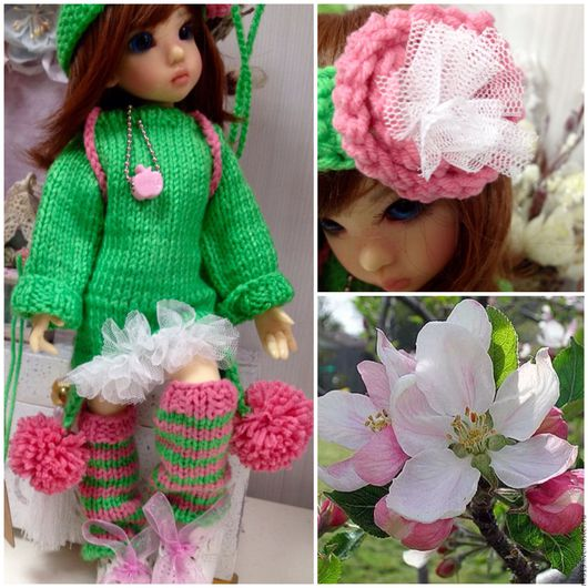 """Одежда для кукол ручной работы. Ярмарка Мастеров - ручная работа. Купить """"Весна и яблонь цвет"""" комплект для куклы. Handmade. пуговка"""