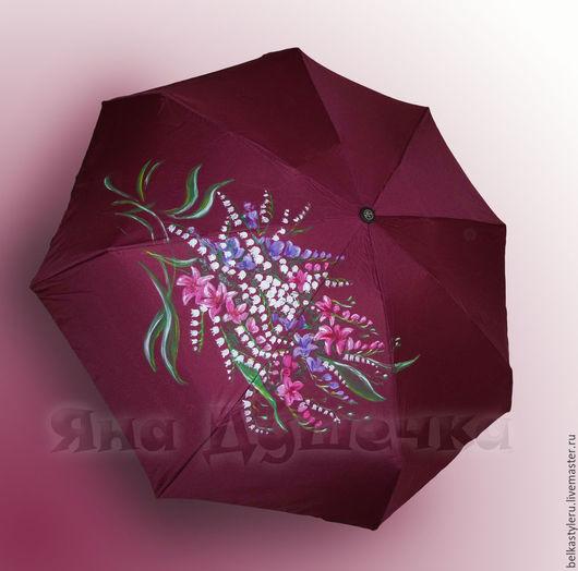 """Зонты ручной работы. Ярмарка Мастеров - ручная работа. Купить Зонт с ручной росписью """"Букет ландышей"""". Handmade. Купить зонт"""