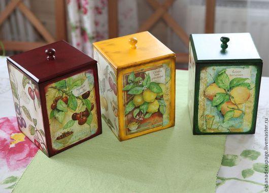 """Кухня ручной работы. Ярмарка Мастеров - ручная работа. Купить Короба для кухни """"Сочные фрукты"""". Handmade. Тёмно-зелёный, фрукты"""