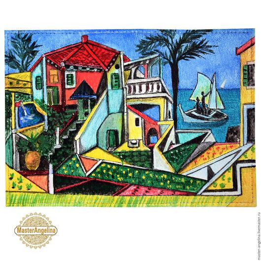 """Обложки ручной работы. Ярмарка Мастеров - ручная работа. Купить Пикассо """"Средиземноморский пейзаж"""" картина на обложке для паспорта.. Handmade."""