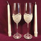 Свадебный салон ручной работы. Ярмарка Мастеров - ручная работа Свадебный набор :бокалы и 2 свечи. Handmade.