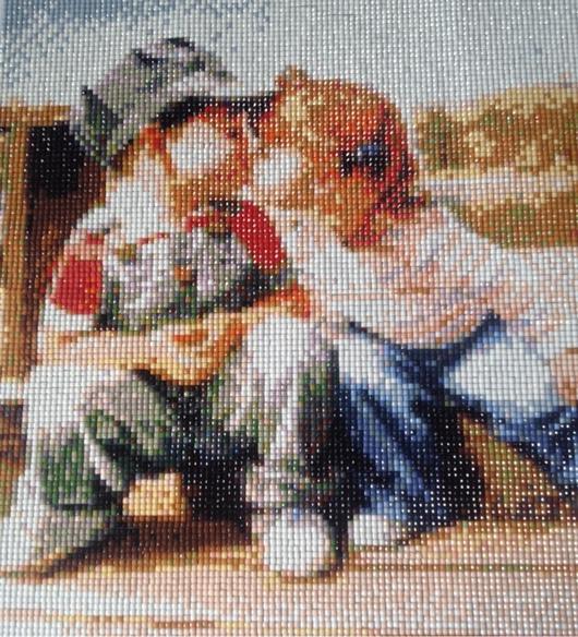 Детская ручной работы. Ярмарка Мастеров - ручная работа. Купить Первый поцелуй. Handmade. Алмазная мозаика, подарок ребенку