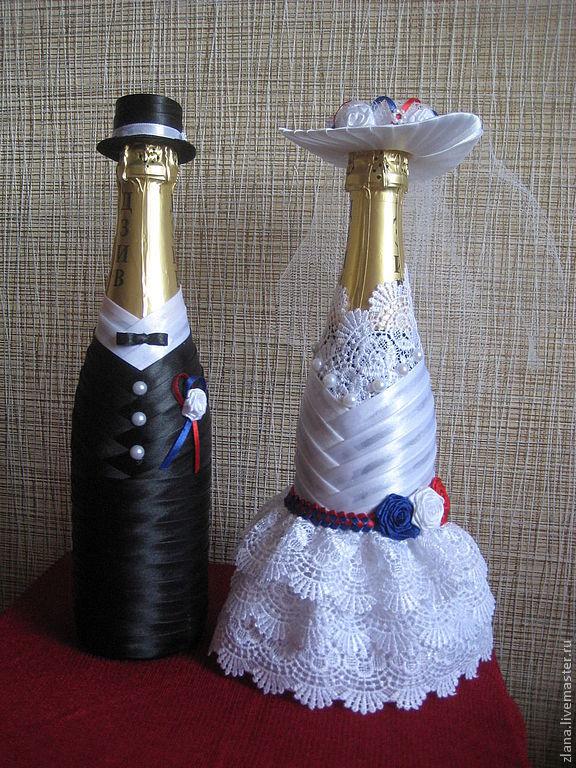 Украсить свадебное шампанское своими руками мастер класс 42