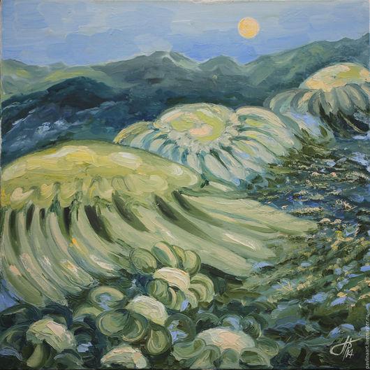 Пейзаж ручной работы. Ярмарка мастеров- ручная работа. Купить пейзаж маслом. Цветы, горы, солнце.