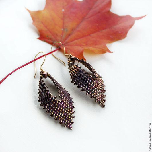 Серьги ручной работы. Ярмарка Мастеров - ручная работа. Купить серьги из бисера легкие невесомые Осень листопад.