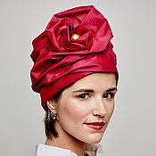 Аксессуары handmade. Livemaster - original item Turban hat hijab of raspberry silk with a bead. Handmade.