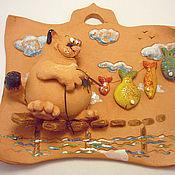 Подарки к праздникам ручной работы. Ярмарка Мастеров - ручная работа Котей на рыбалке. Handmade.