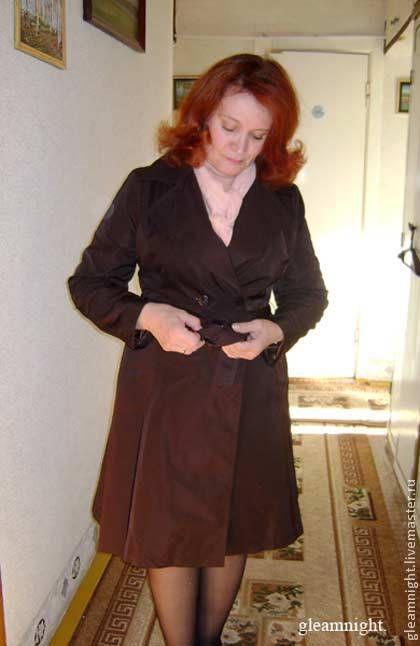 Верхняя одежда ручной работы. Ярмарка Мастеров - ручная работа. Купить Плащ. Handmade. Коричневый, осенний плащ