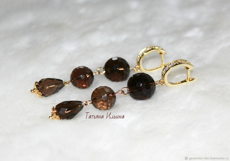 Earrings with rauchtopaz, Earrings, Moscow,  Фото №1