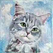 Картины и панно handmade. Livemaster - original item Oil painting Kitten on blue background on canvas. Handmade.