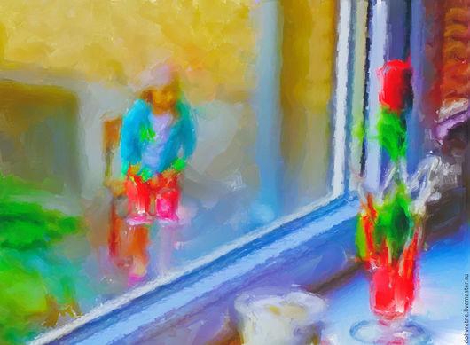 В данном образце вы видите цифровую картину - За окном - ещё не отпечатанную на холсте и не доработанную художественными мазками акриловой краски и специальной фактурной глазурью.