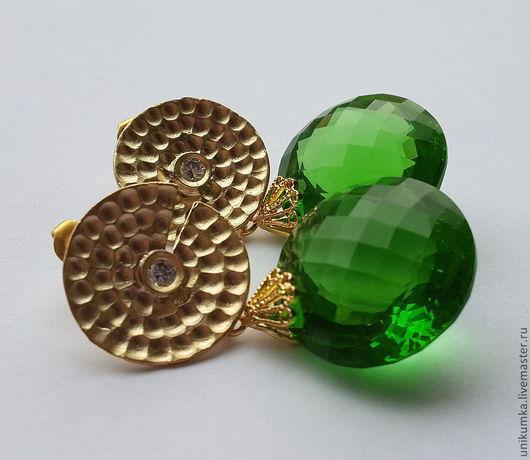 """Серьги ручной работы. Ярмарка Мастеров - ручная работа. Купить -20% """"Нефертити"""" - серьги топазом. Handmade. Ярко-зелёный"""