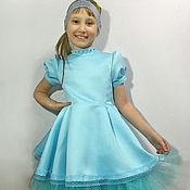 Платье для девочки из сатина, фатина и кружева.