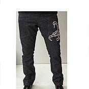 Одежда ручной работы. Ярмарка Мастеров - ручная работа Джинсы с Скорпионом. Handmade.