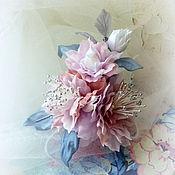 Украшения ручной работы. Ярмарка Мастеров - ручная работа Цветы из ткани. Брошь-цветок Камелия. Handmade.