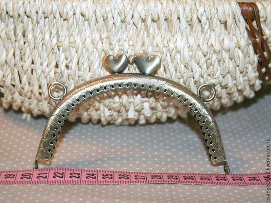 Другие виды рукоделия ручной работы. Ярмарка Мастеров - ручная работа. Купить Фермуар пришивной 12 см бронза застежка сердечки. Handmade.