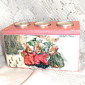 Подарки к праздникам handmade. Livemaster - original item Candle box Winter bunnies)). Handmade.