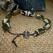 Украшения handmade. Livemaster - original item JI - men`s Bracelet on a leather cord with skull (pyrite natural). Handmade.