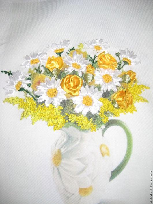 Картины цветов ручной работы. Ярмарка Мастеров - ручная работа. Купить Букет в кувшине. Handmade. Комбинированный, ромашки, розы