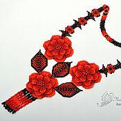 Украшения handmade. Livemaster - original item Decoration on the neck beaded Fire flowers. Handmade.