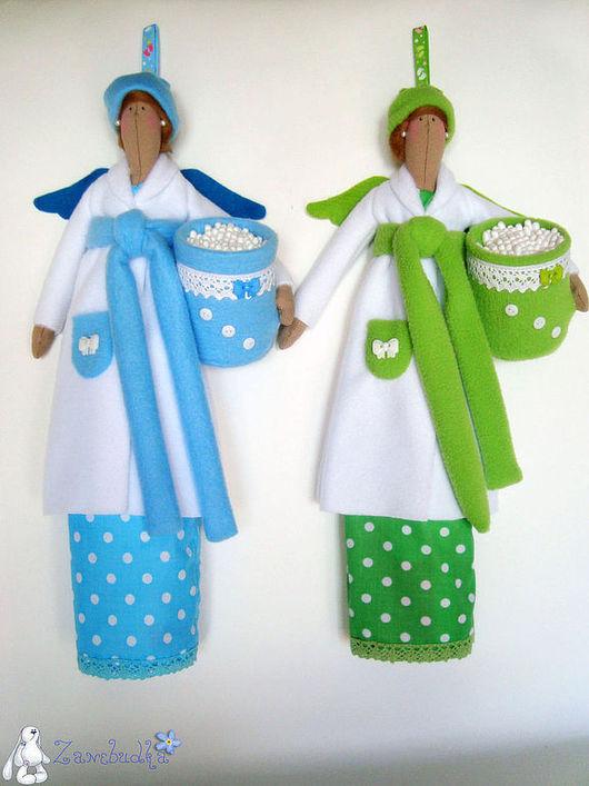 Ванная комната ручной работы. Ярмарка Мастеров - ручная работа. Купить Хранительница ватных дисков и палочек (голубая и зеленаяя). Handmade.