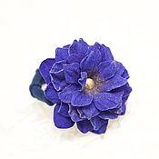 """Украшения ручной работы. Ярмарка Мастеров - ручная работа Резинка для волос """"Сири""""  - синий, васильковый. Handmade."""