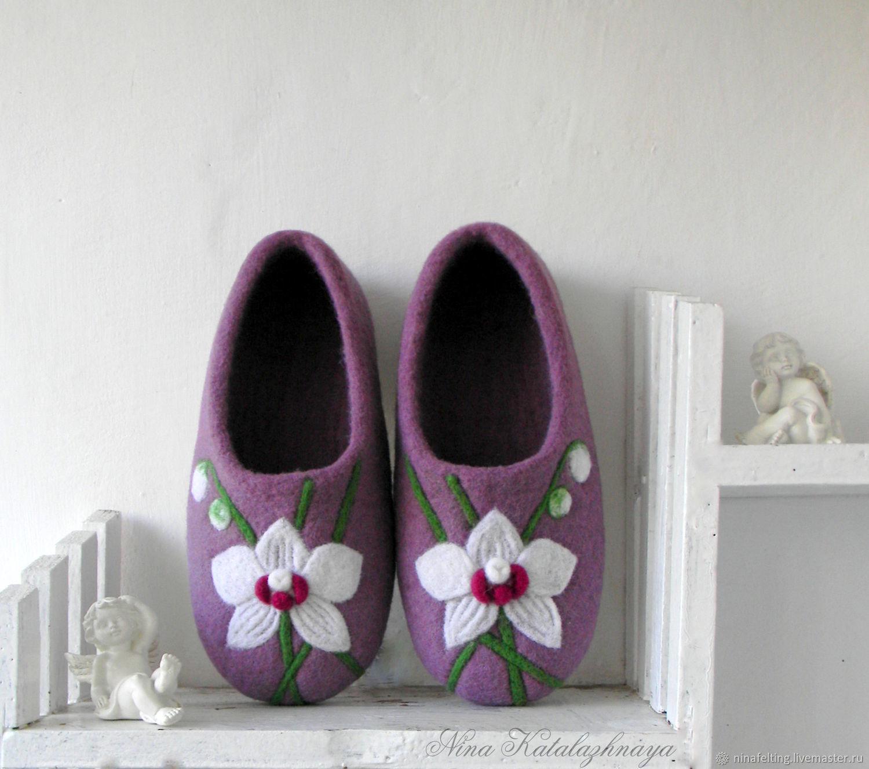 Валяные тапочки Белая Орхидея Тапочки для дома Тапочки из шерсти, Обувь, Мариуполь, Фото №1