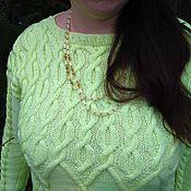 Одежда ручной работы. Ярмарка Мастеров - ручная работа Джемпер  женский вязаный  (пуловер) ручная работа большой размер. Handmade.