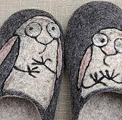 """Обувь ручной работы. Ярмарка Мастеров - ручная работа Валяные тапочки """"Зайцы"""". Handmade."""