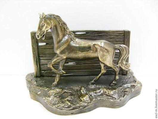 """Подарки для мужчин, ручной работы. Ярмарка Мастеров - ручная работа. Купить Визитница """"На конюшне"""". Handmade. Конь, год лошади"""