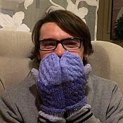 Аксессуары handmade. Livemaster - original item Knitted mittens jeans (cashmere blue jeans, grey, blue). Handmade.