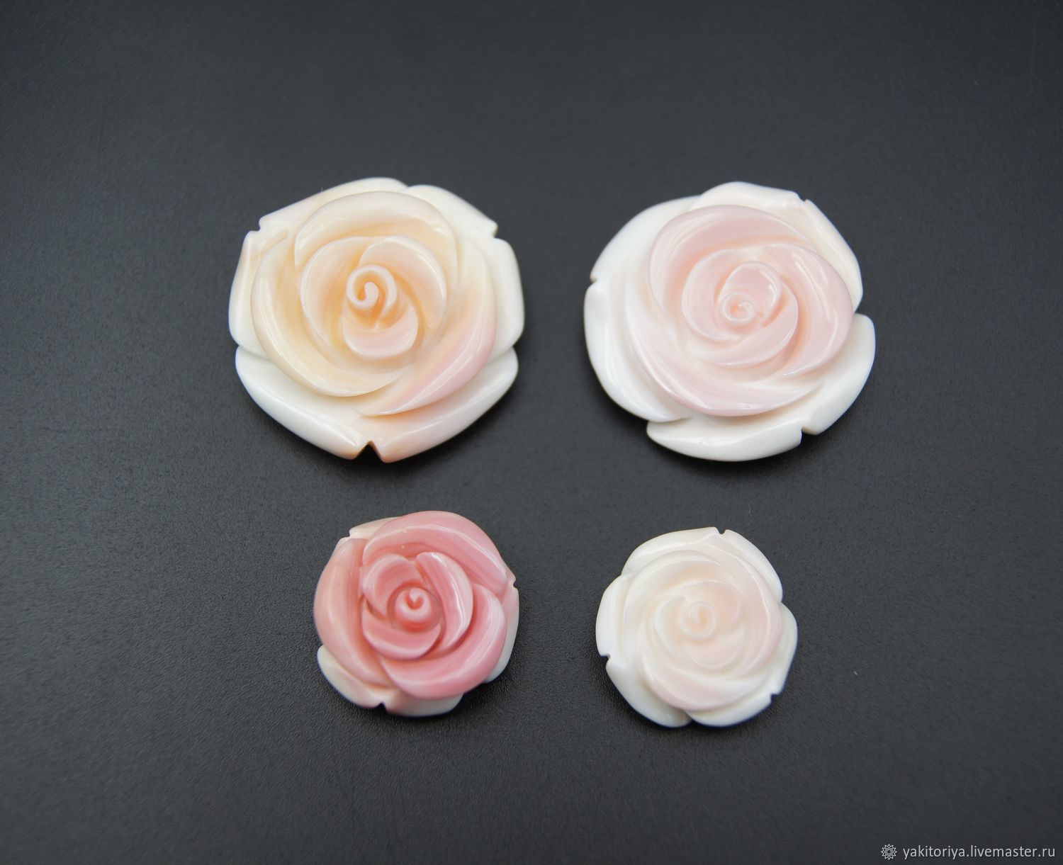 Mother of pearl carved white-pink rose, Cabochons, Moscow,  Фото №1