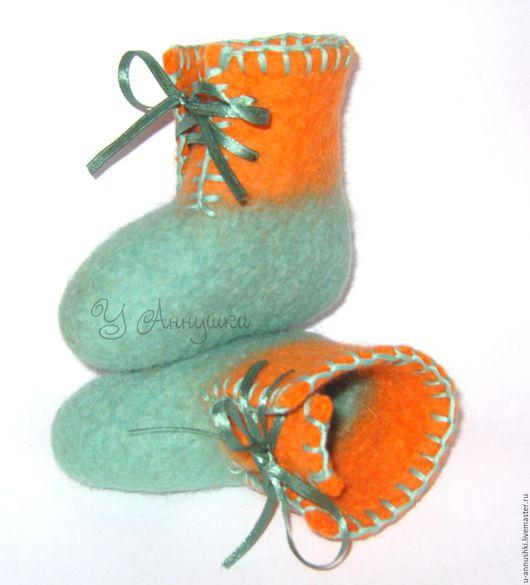 """Обувь ручной работы. Ярмарка Мастеров - ручная работа. Купить Пинеточки """"Первые"""". Handmade. Тёмно-бирюзовый, обувь ручной работы"""