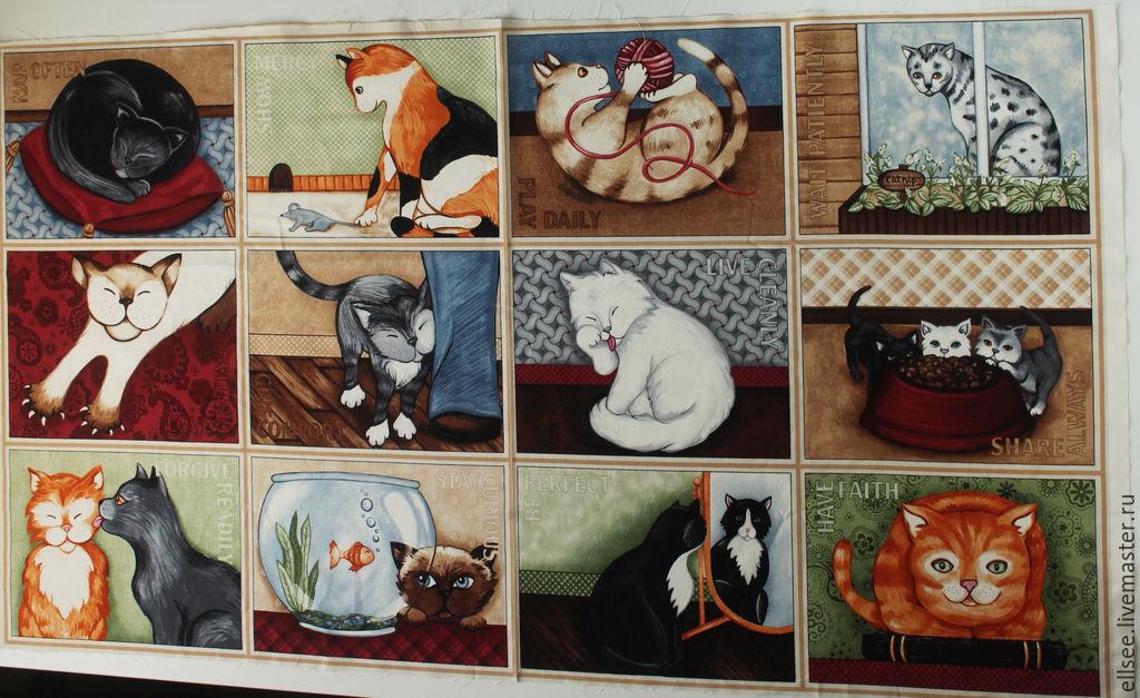 """ручной работы. Ярмарка Мастеров - ручная работа. Купить Панель """"Коты. Нарисованные"""" №61. Handmade. Коты, ткани для творчества"""