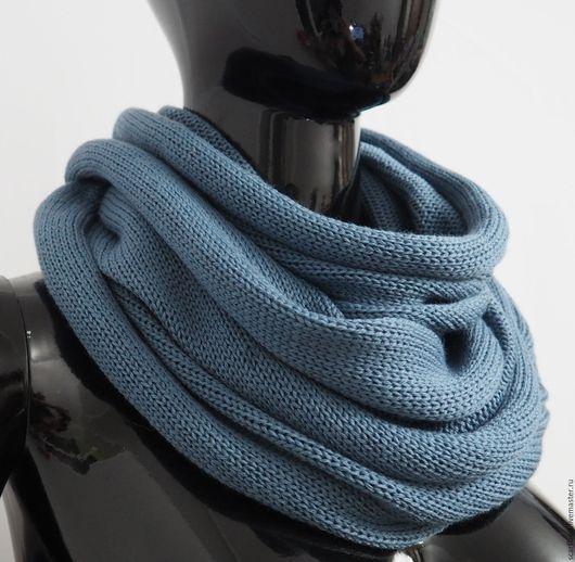 Шарфы и шарфики ручной работы. Ярмарка Мастеров - ручная работа. Купить Снуд  из мериносовой шерсти джинсово-голубой. Handmade.