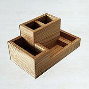 Канцелярские товары handmade. Livemaster - original item Desktop organizer made of oak (205х115х100mm). Handmade.
