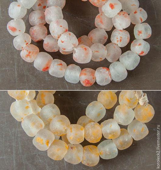 Для украшений ручной работы. Ярмарка Мастеров - ручная работа. Купить Африканские стеклянные бусины с желтыми и оранжевыми облачками. Handmade.